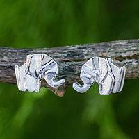 Sterling silver button earrings, 'Origami Elephant' - Original Origami Style Sterling Silver Elephant Earrings