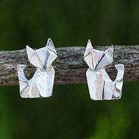 Sterling silver stud earrings, 'Origami Fox' - Fox Stud Earrings Handcrafted from Brushed Sterling Silver