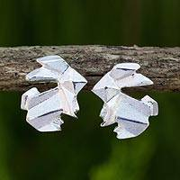 Sterling silver button earrings, 'Origami Rabbit' - Handmade Silver 925 Origami Style Bunny Earrings