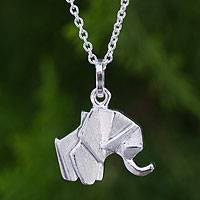 Sterling silver pendant necklace, 'Origami Elephant' - Unique Brushed 925 Silver Elephant Pendant Necklace