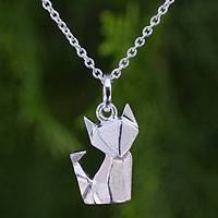 Sterling silver pendant necklace, 'Origami Fox' - Unique Sterling Silver Origami Motif Fox Pendant Necklace
