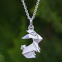 Sterling silver pendant necklace, 'Origami Rabbit' - Sterling Silver Origami Bunny Necklace on Cable Chain