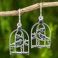 Sterling silver dangle earrings, 'Silver Canaries' - Thai Artisan Crafted Sterling Silver Bird Earrings