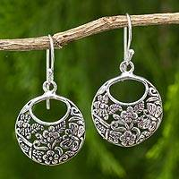 Sterling silver flower earrings, 'Magical Garden' - Sterling Silver Flower Earrings with Bees and Butterflies