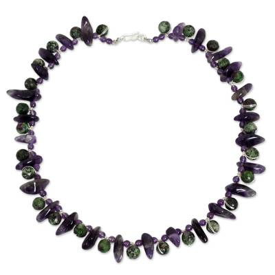 Handmade Beaded Amethyst and Ruby Zoisite Necklace