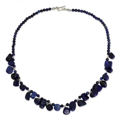 Fair Trade Lapis Lazuli Bead Necklace with Silver Clasp