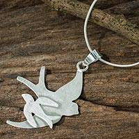 Sterling silver pendant necklace, 'First Flight' - Handmade Artisan Silver 925 Pendant Necklace of Birds