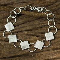 Sterling silver link bracelet, 'Square Chain' - Modern Brushed and Polished Sterling Silver Link Bracelet