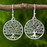 Sterling silver dangle earrings, 'Spiral Tree'