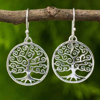 Sterling silver dangle earrings, 'Spiral Tree' - Handcrafted 925 Sterling Silver Tree Dangle Earrings