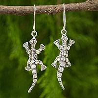 Sterling silver dangle earrings, 'The Gecko' - Unique Sterling Silver Gecko Lizard Dangle Earrings