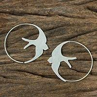 Sterling silver hoop earrings, 'The Martin' - Sterling Silver Endless Hoop Earrings with Bird Design