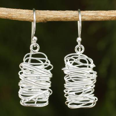Sterling silver dangle earrings, 'Scribble' - Unique Modern Design Sterling Silver Dangle Earrings