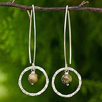 Rutile quartz dangle earrings, 'Ancient Mystery' - Unique Rutile Quartz and Silver Dangle Style Earrings
