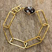 Gold plated smoky quartz link bracelet, 'Golden Coffee' - Hand Crafted Smoky Quartz Bracelet with 24k Gold Plate