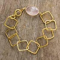 Gold plated rose quartz link bracelet,
