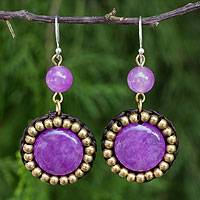 Quartz dangle earrings, 'Summer Garden Path' - Fair Trade Earrings with Purple Quartz and Brass Beads