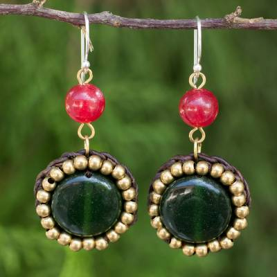 Quartz dangle earrings, 'Woodland Garden Path' - Dark Green and Bright Pink Quartz and Brass Earrings
