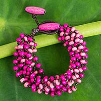 Wood Torsade Bracelet Pink Orchid Duality (thailand)