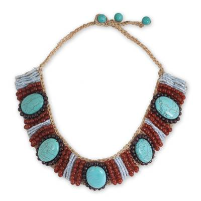 Handcrafted Carnelian, Garnet, and Blue Calcite Necklace