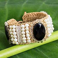Onyx and cultured pearl wristband bracelet, 'Jazz Age' - Handmade Crocheted Wristband with Onyx and Pearls