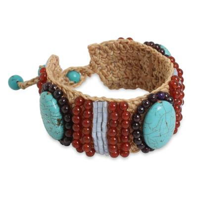 Crocheted Bracelet with Calcite, Carnelian and Garnet Beads