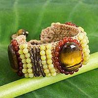 Tiger's eye and carnelian beaded wristband bracelet, 'Hot Jazz' - Tiger's Eye and Carnelian Crocheted Beaded Bracelet