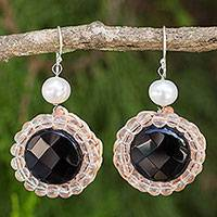Onyx and cultured pearl dangle earrings, 'Jazz Age' - Black Onyx and White Cultured Pearl Crocheted Earrings