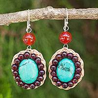 Carnelian and garnet beaded earrings, 'Summer Jazz' - Colorful Beaded Dangle Earrings with Carnelian and Garnet