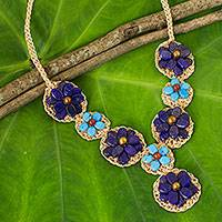 Lapis lazuli flower necklace, 'Floral Garland in Blue' - Blue Lapis Lazuli and Calcite Crocheted Flower Necklace