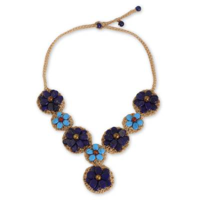 Blue Lapis Lazuli and Calcite Crocheted Flower Necklace