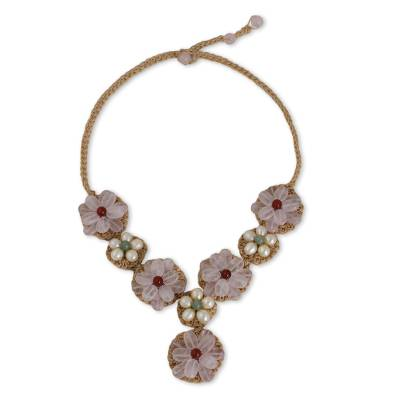 Rose and Green Quartz and Cultured Pearl Flower Necklace