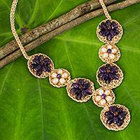 Amethyst and cultured pearl flower necklace, 'Floral Garland in Purple' - Crocheted Pendant Necklace with Amethyst and Pearls