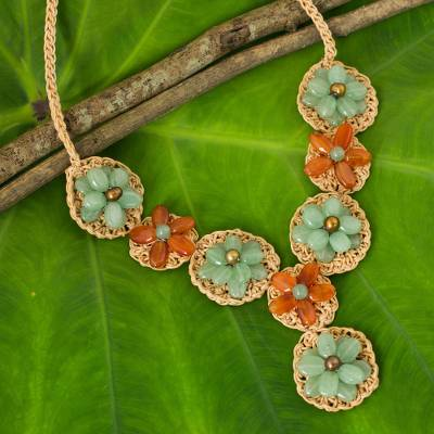 Carnelian and quartz flower necklace, 'Floral Garland in Green' - Hand Made Necklace with Green Quartz and Carnelian Beads