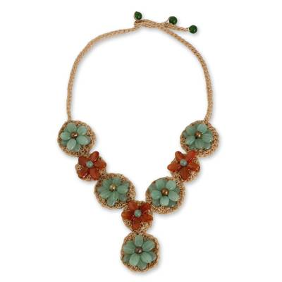 Hand Made Necklace with Green Quartz and Carnelian Beads