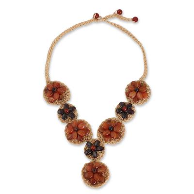 Beaded Carnelian and Garnet Floral Pendant Necklace