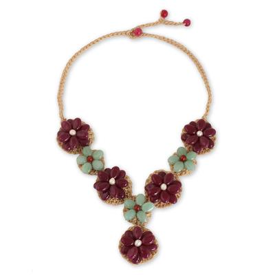 Fair Trade Crocheted Necklace with Quartz Gemstones