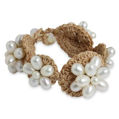 Hand Crocheted Bracelet with White Cultured Pearls