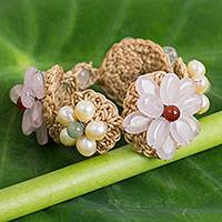 Rose quartz and cultured pearl flower bracelet, 'Floral Garland in Pink' - Rose Quartz and Cultured Pearl Bracelet on Crocheted Cords