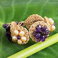 Amethyst and cultured pearl flower bracelet, 'Floral Garland in Purple' - Amethyst and Cultured Pearl Flower Bracelet on Crochet