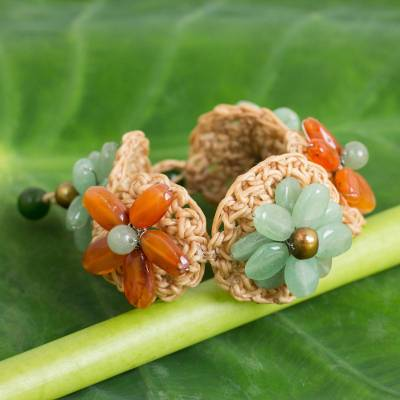 Carnelian and quartz flower bracelet, 'Floral Garland in Green' - Handmade Flower Bracelet with Carnelian and Quartz Beads