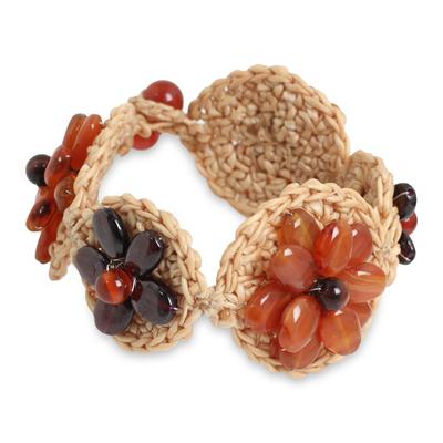 Fair Trade Crocheted Flower Bracelet with Carnelian Beads
