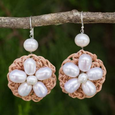 Cultured pearl flower earrings, 'Floral Garland in White' - Hand Crocheted Cultured Pearl Flower Dangle Earrings