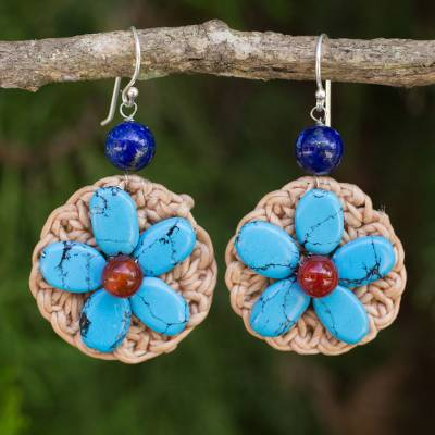 Beaded flower earrings, 'Flower Garland in Blue' - Blue Calcite and Lapis Lazuli Crocheted Dangle Earrings