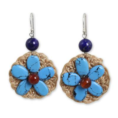 Blue Calcite and Lapis Lazuli Crocheted Dangle Earrings