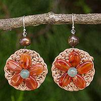 Carnelian and cultured pearl flower earrings, 'Blossoming Lyrics' - Artisan Hand Crocheted Carnelian Gemstone Beaded Earrings