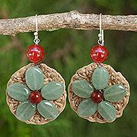 Carnelian flower earrings, 'Blossoming Lyrics' - Gemstone Flowers on Hand Crocheted Hook Earrings