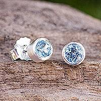 Blue topaz stud earrings, Light - Sterling Silver Stud Earrings with Faceted Blue Topaz