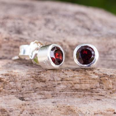 Garnet stud earrings, 'Light' - Sterling Silver Stud Earrings with Faceted Garnet