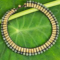 Jade and coconut shell beaded necklace,